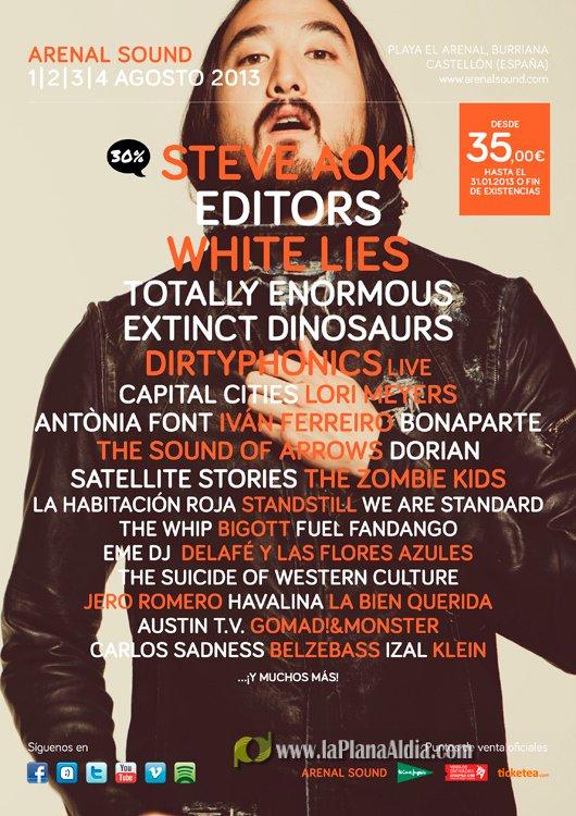 Cartel (hasta la fecha) del Arenal Sound 2013